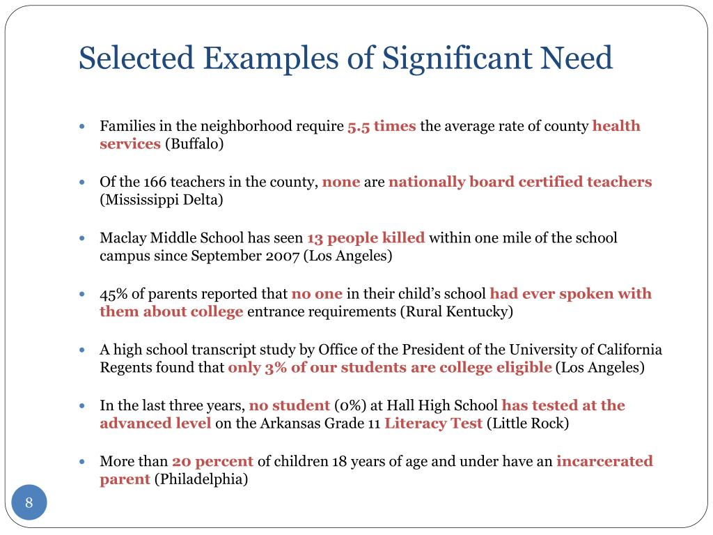 Selected Examples of Significant Need