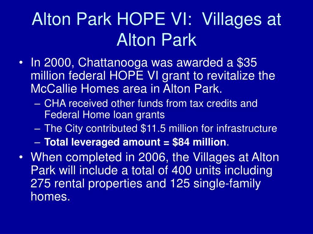 Alton Park HOPE VI:  Villages at Alton Park