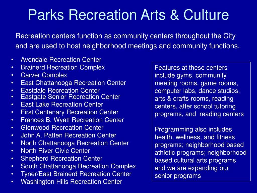 Parks Recreation Arts & Culture