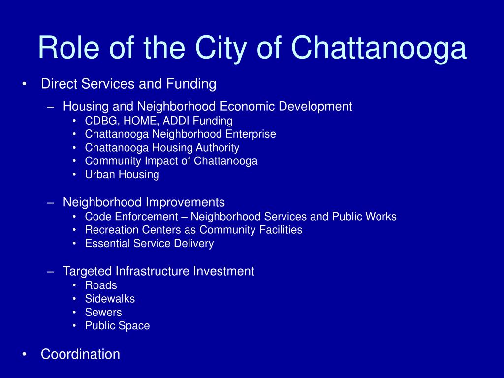 Role of the City of Chattanooga