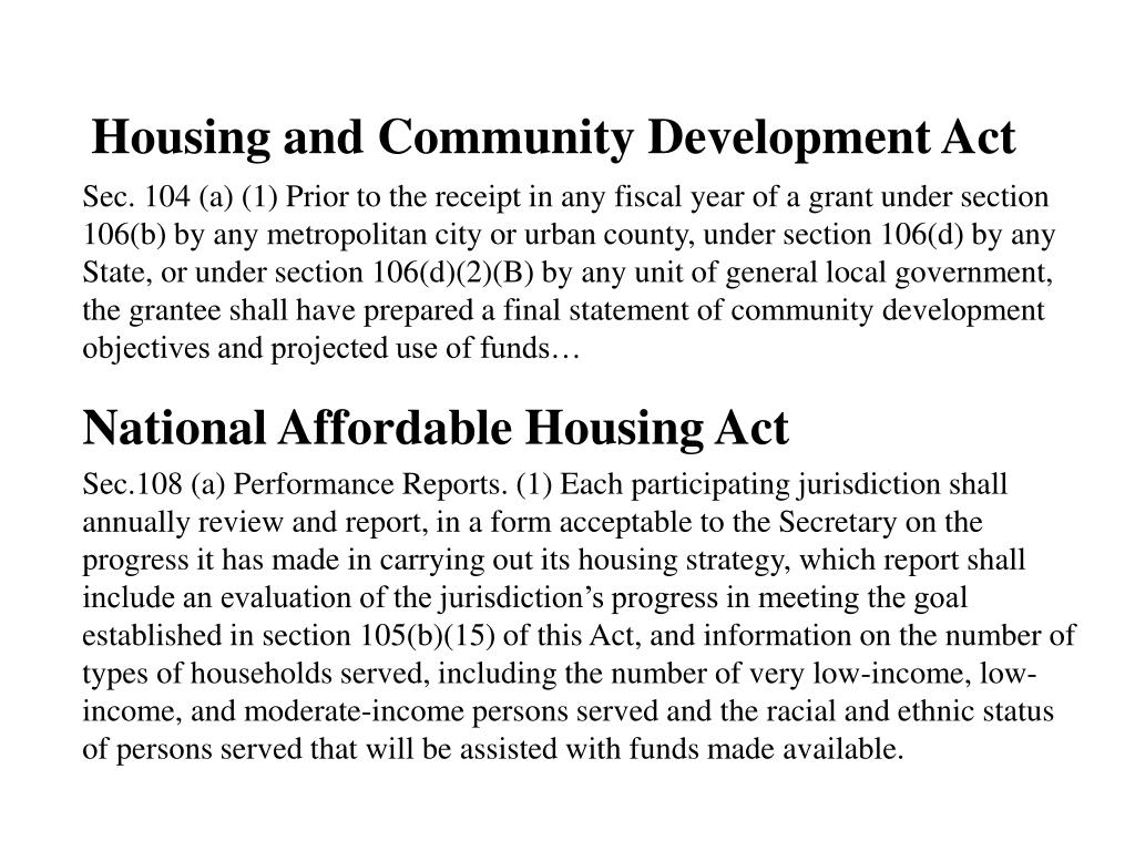 Housing and Community Development Act