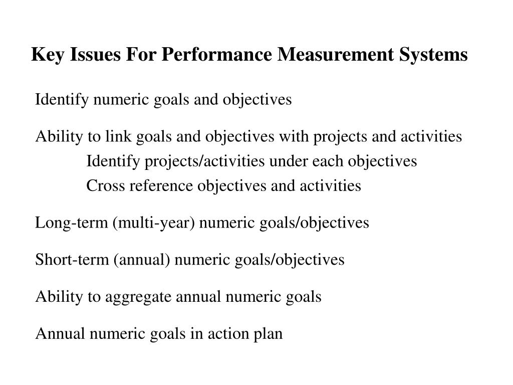 Key Issues For Performance Measurement Systems