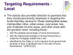 targeting requirements local
