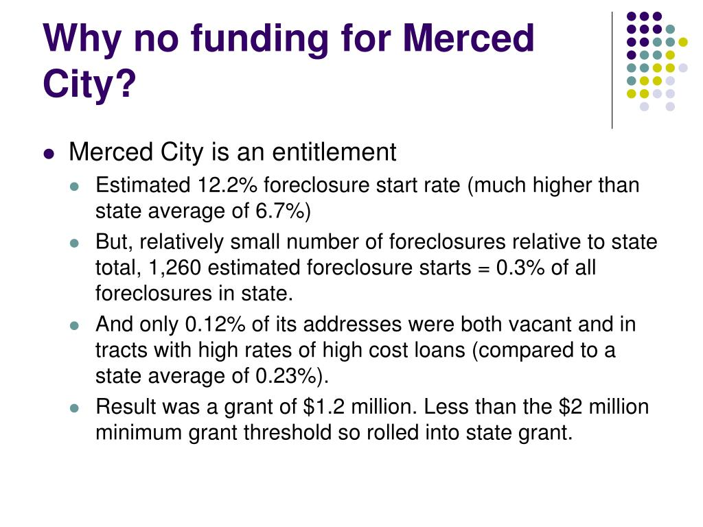 Why no funding for Merced City?