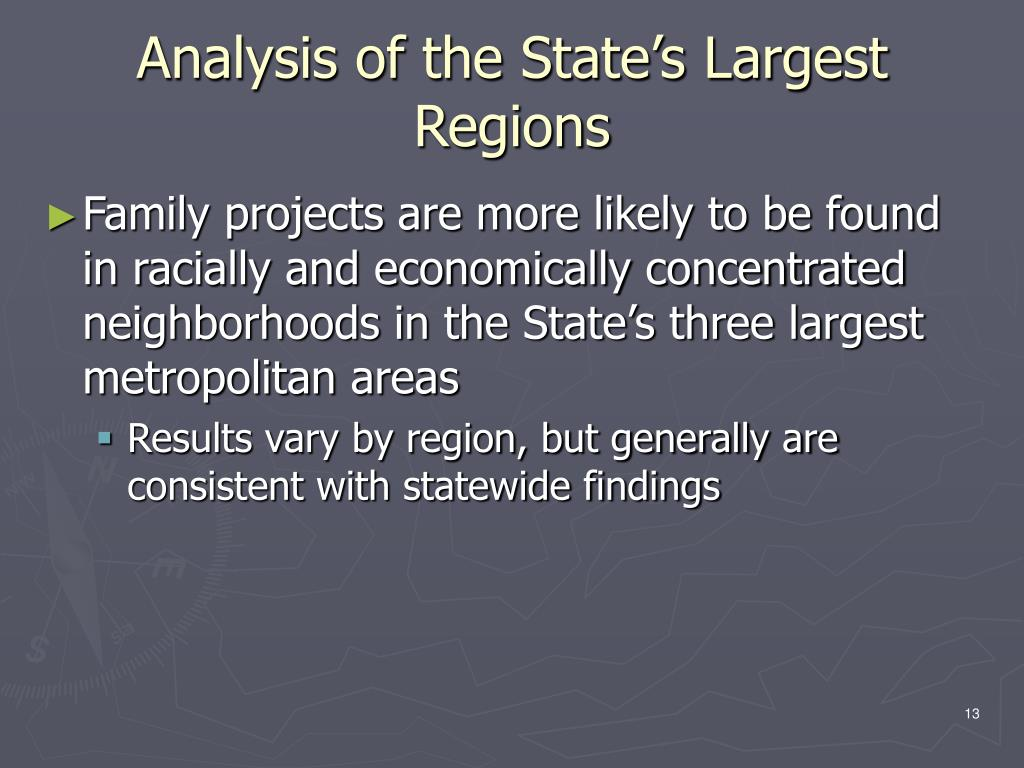 Analysis of the State's Largest Regions