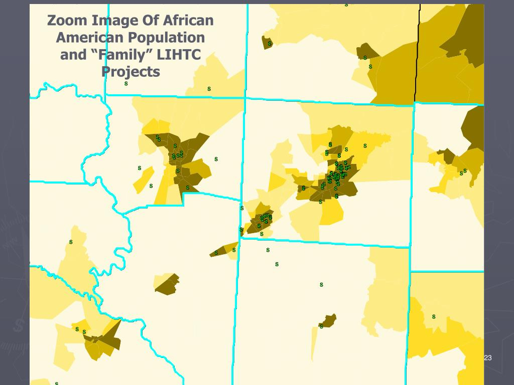 """Zoom Image Of African American Population and """"Family"""" LIHTC Projects"""