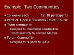 example two communities