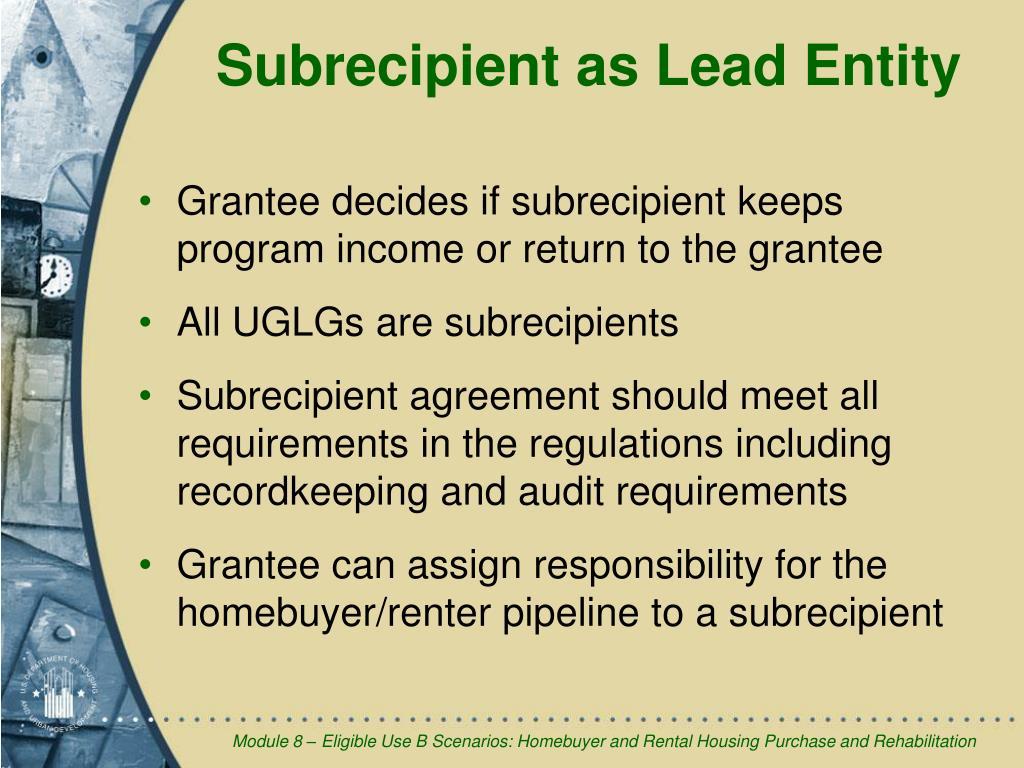 Subrecipient as Lead Entity