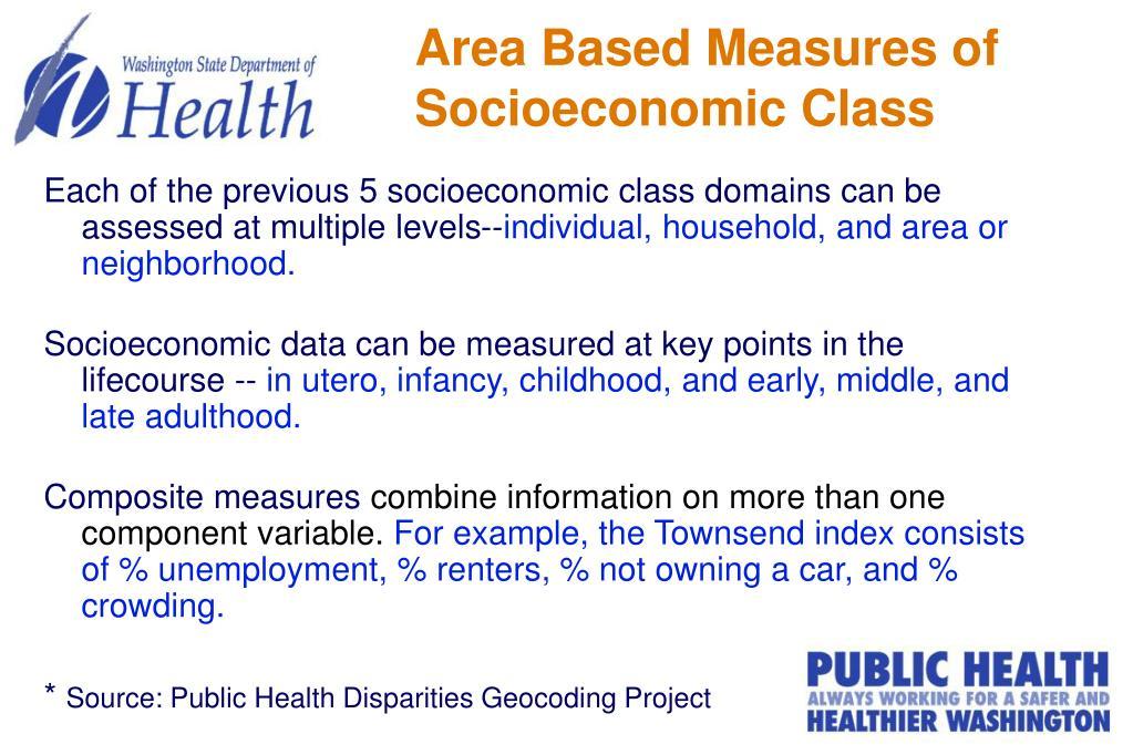 Area Based Measures of Socioeconomic Class