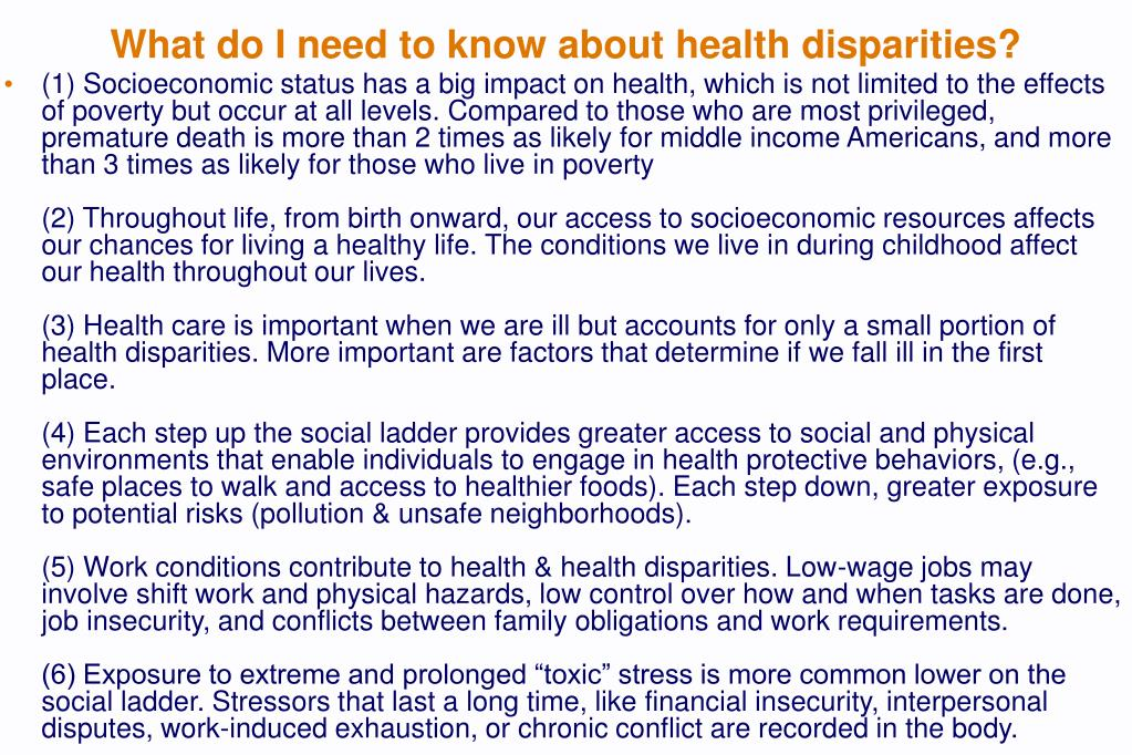 What do I need to know about health disparities?