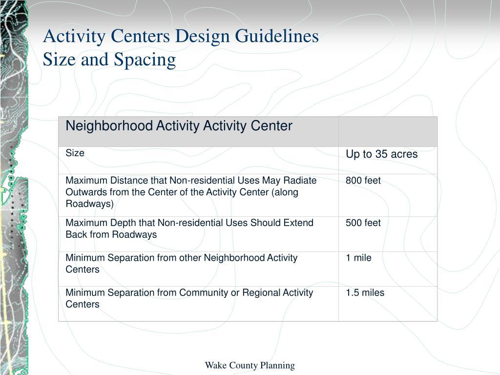 Neighborhood Activity Activity Center