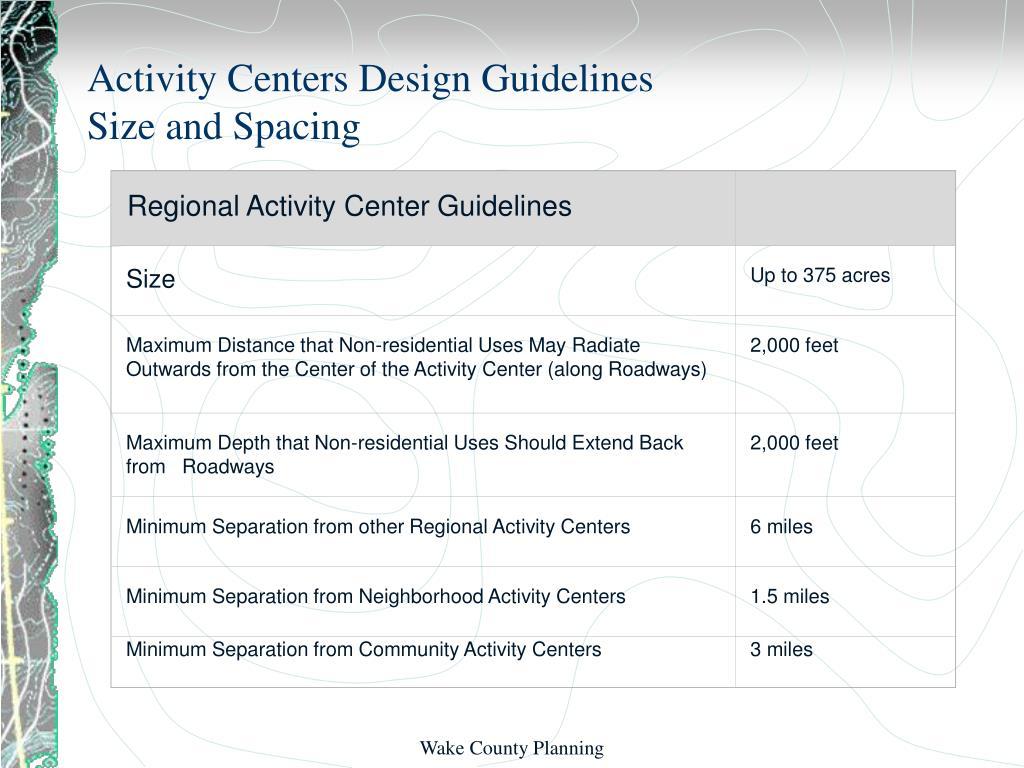 Regional Activity Center Guidelines