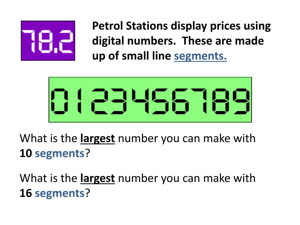 Petrol Stations display prices using digital numbers.  These are made up of small line
