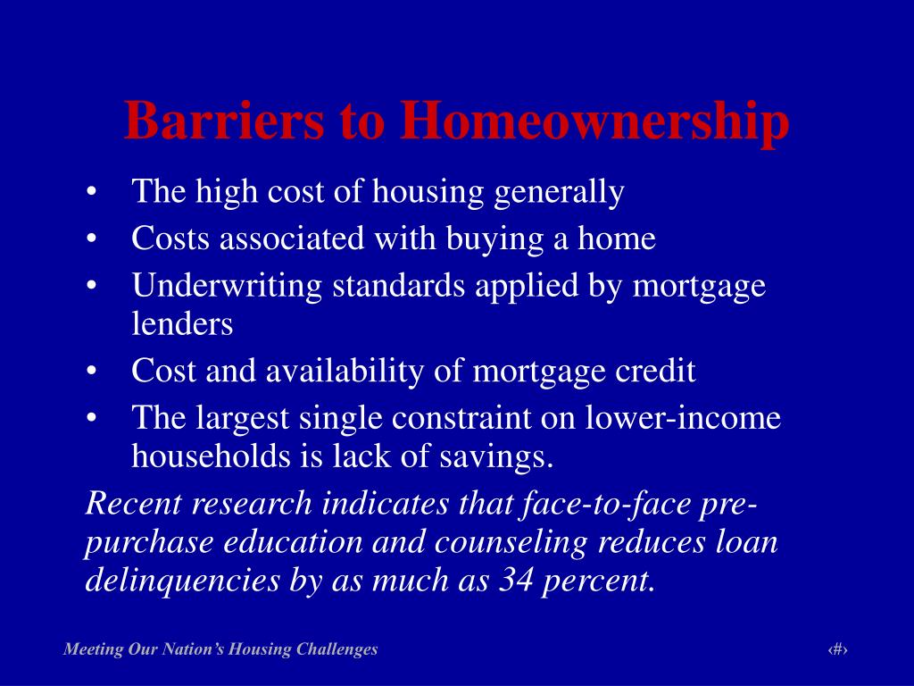 Barriers to Homeownership
