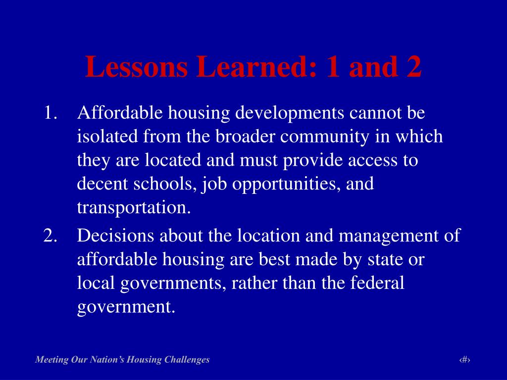Lessons Learned: 1 and 2