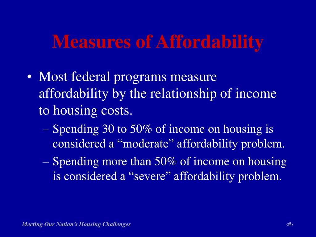 Measures of Affordability