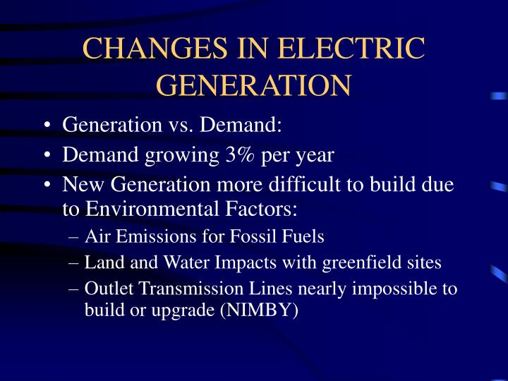 Changes in electric generation