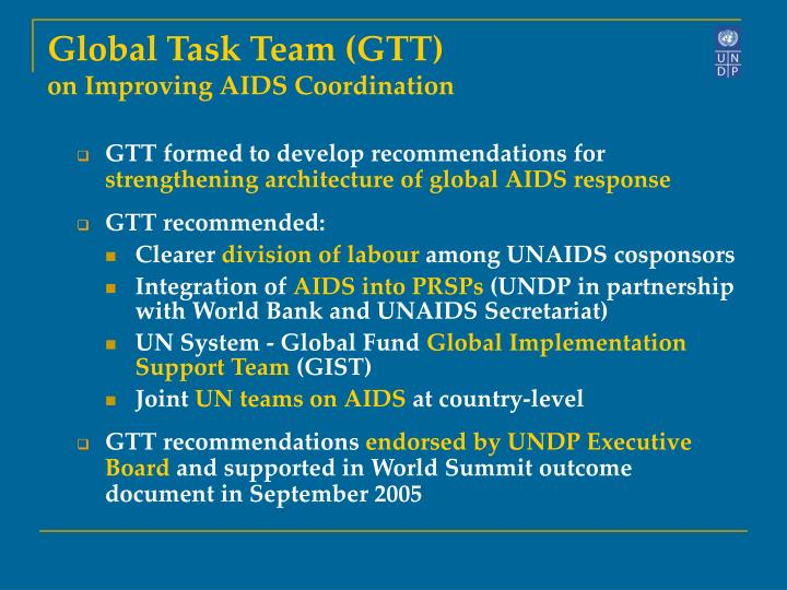 Global Task Team (GTT)