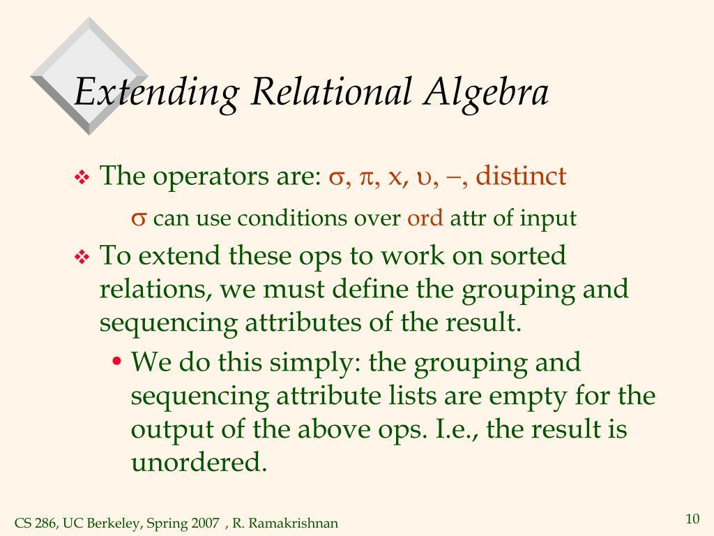 Extending Relational Algebra