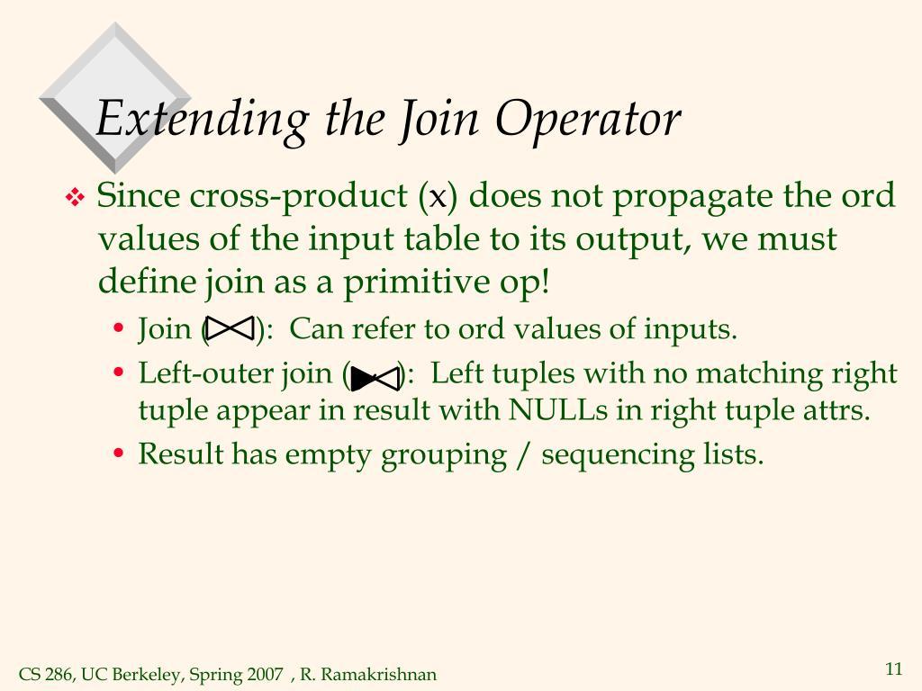 Extending the Join Operator