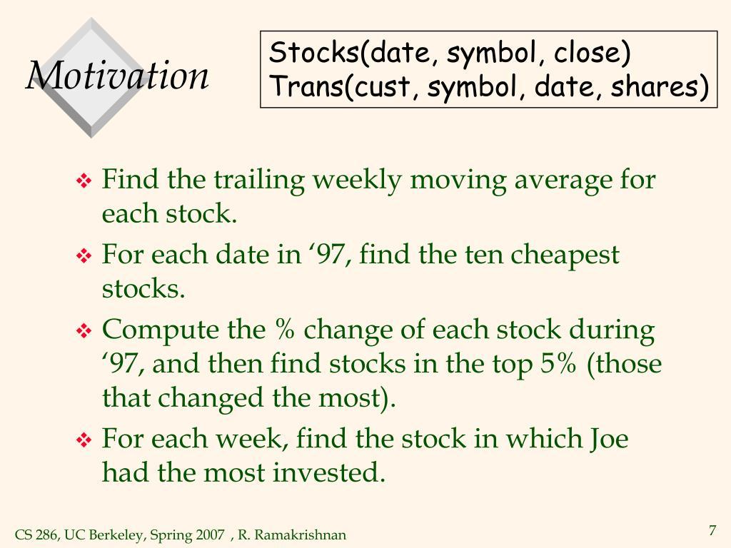 Stocks(date, symbol, close)