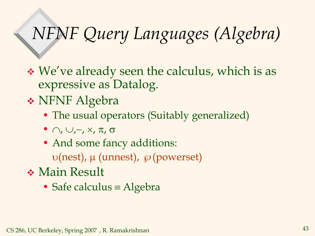 NFNF Query Languages (Algebra)