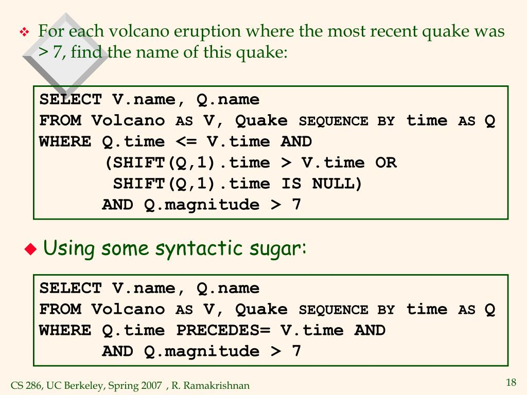 SELECT V.name, Q.name