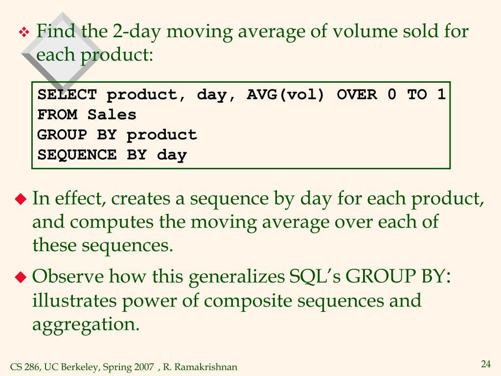 SELECT product, day, AVG(vol) OVER 0 TO 1