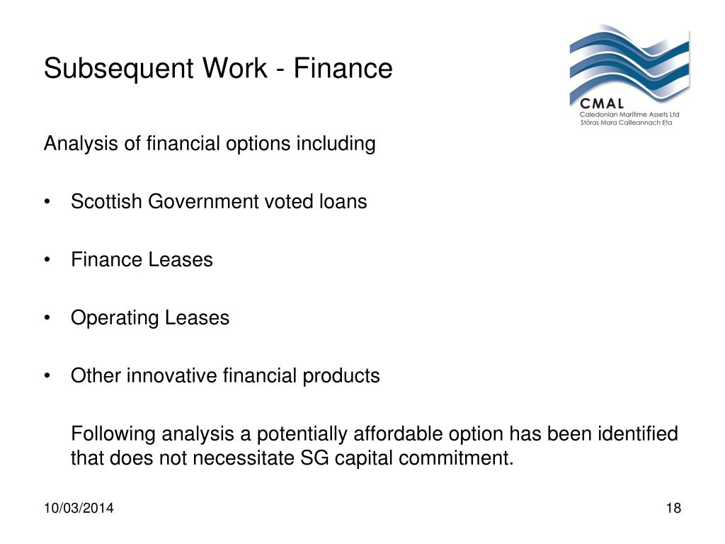 Subsequent Work - Finance