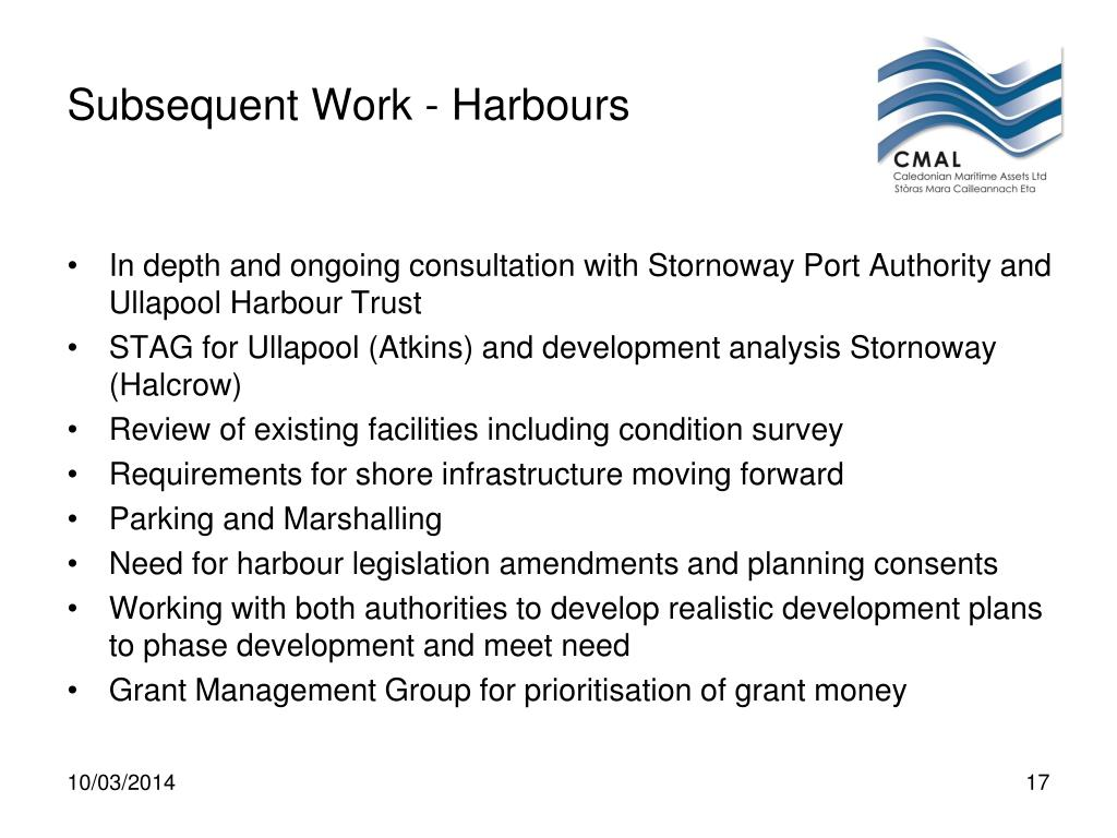 Subsequent Work - Harbours