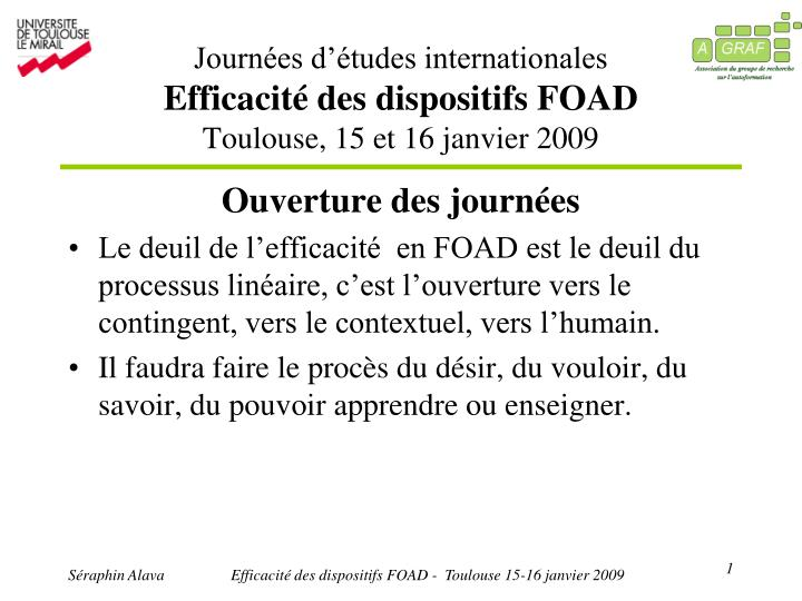 journ es d tudes internationales efficacit des dispositifs foad toulouse 15 et 16 janvier 2009 n.