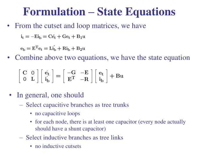 Formulation – State Equations