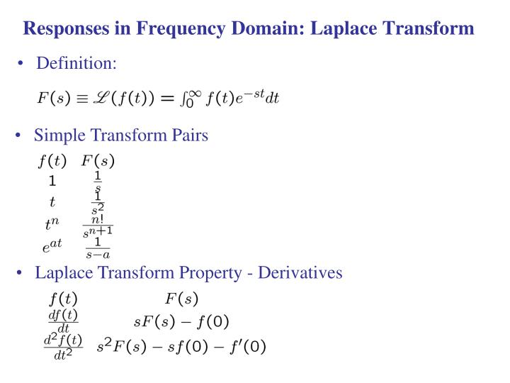 Responses in Frequency Domain: Laplace Transform