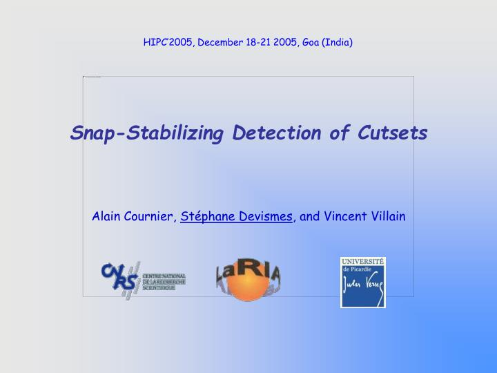 snap stabilizing detection of cutsets n.