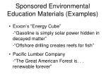 sponsored environmental education materials examples