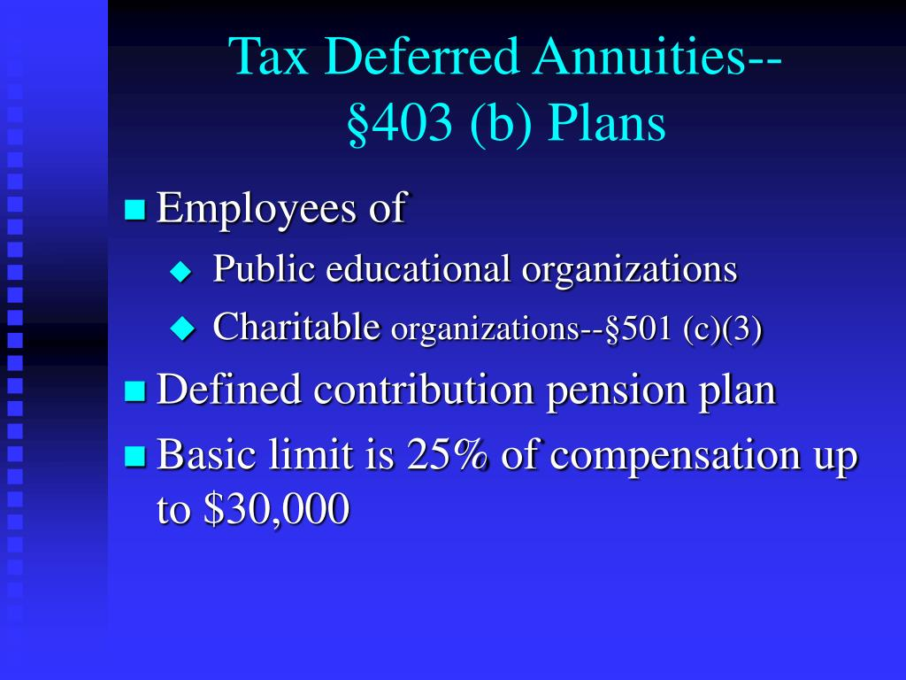 Tax Deferred Annuities--