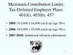 maximum contribution limits tax deferred employer plans 401 k 403 b 457
