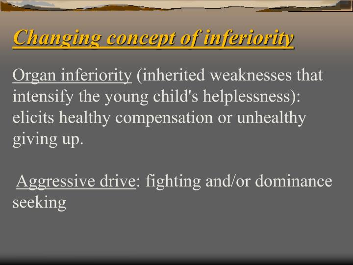 Changing concept of inferiority