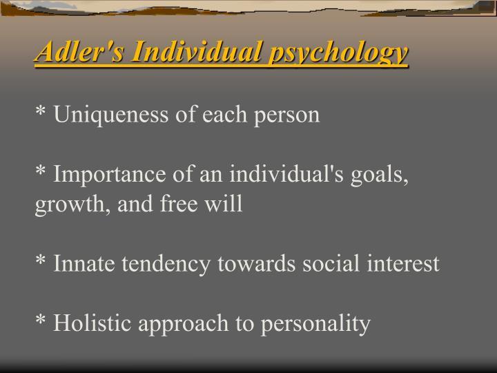 Adler's Individual psychology