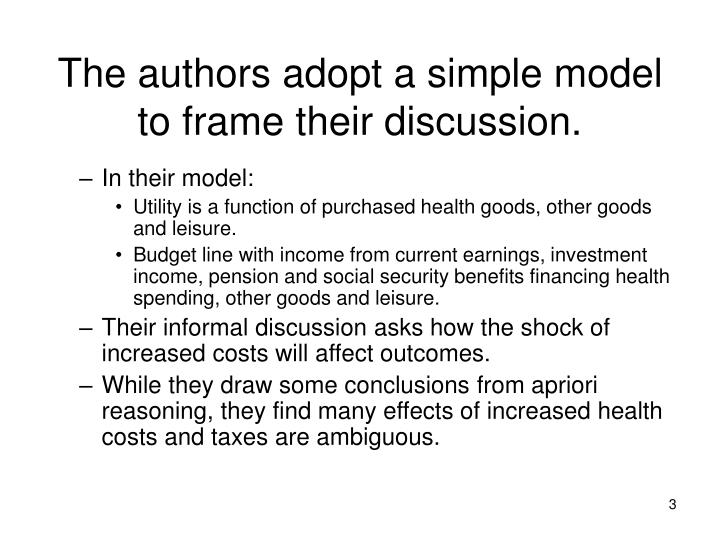 The authors adopt a simple model to frame their discussion
