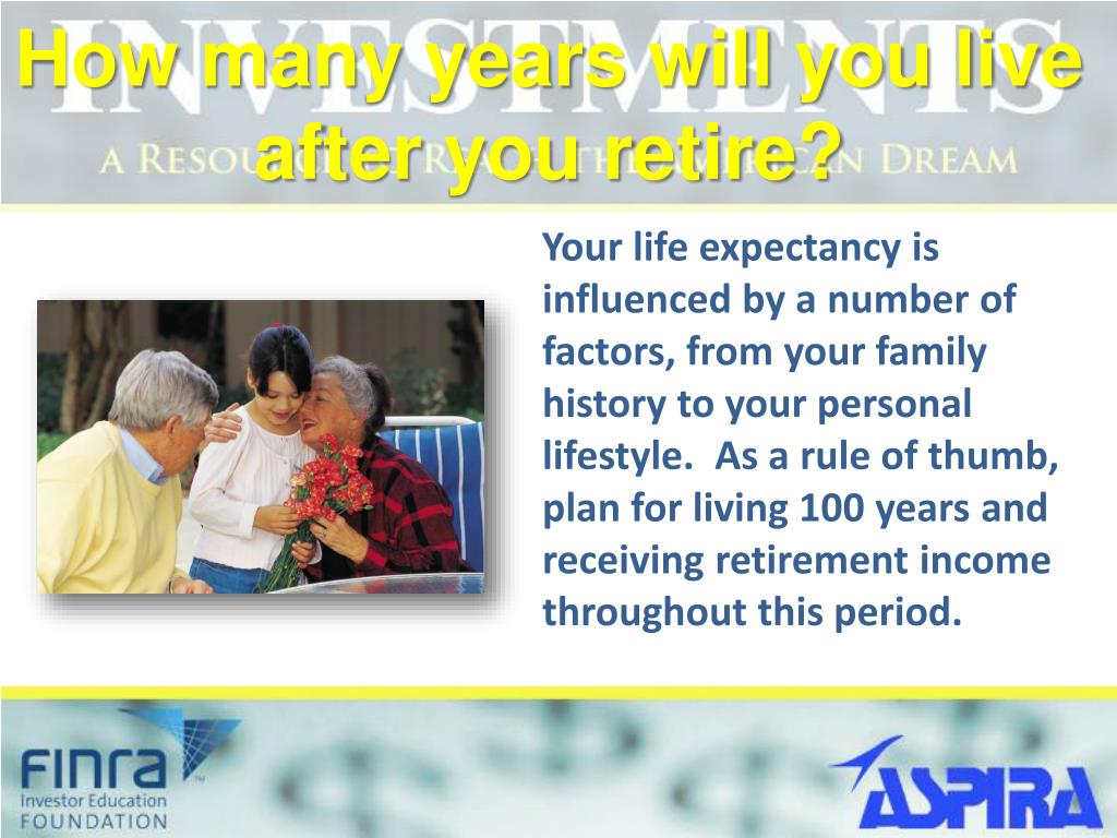 How many years will you live after you retire?