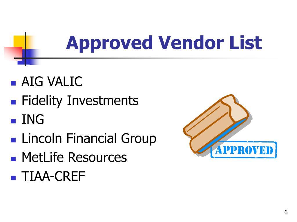 Approved Vendor List