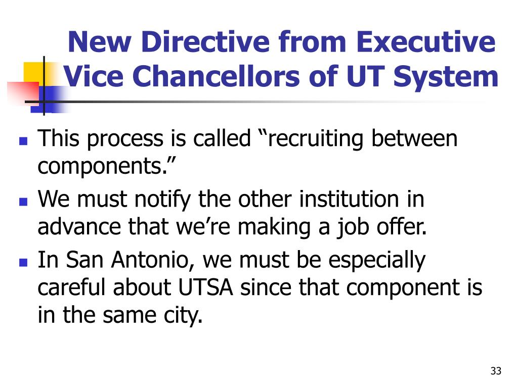 New Directive from Executive Vice Chancellors of UT System
