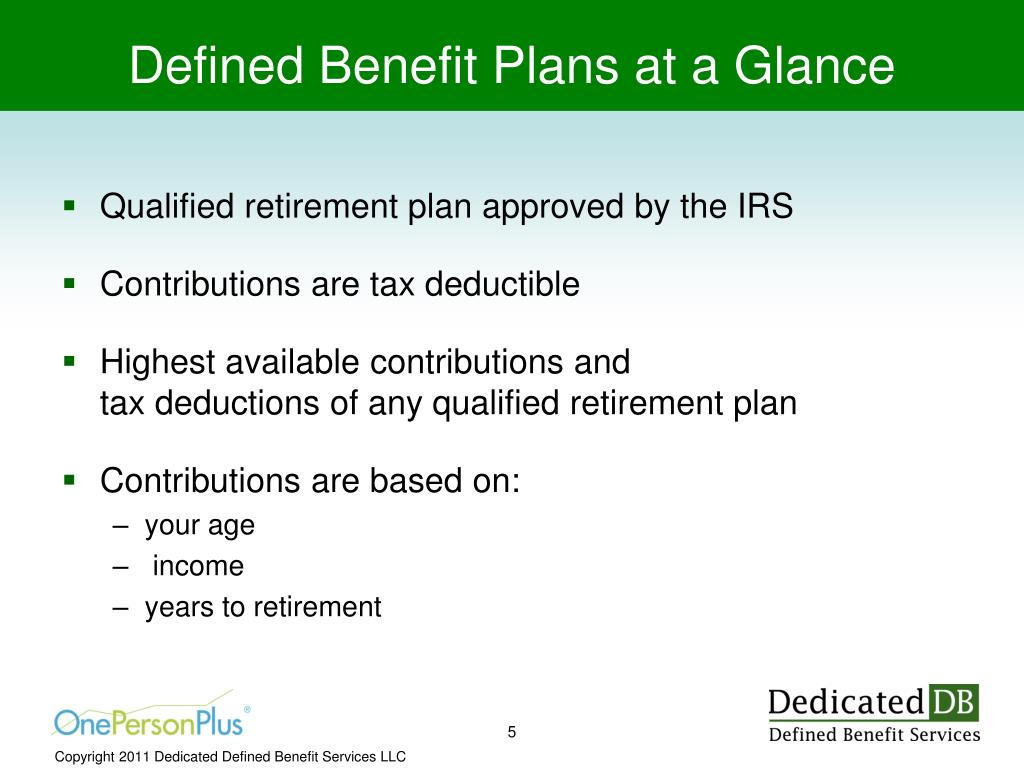 Defined Benefit Plans at a Glance