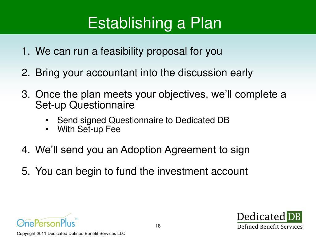 Establishing a Plan