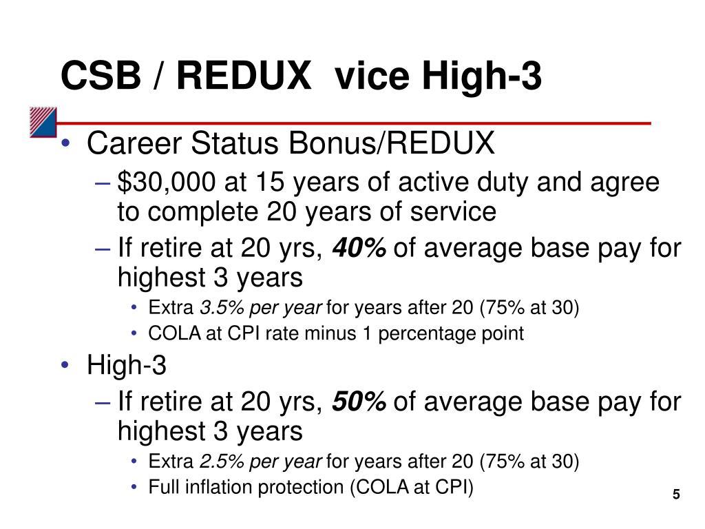 CSB / REDUX  vice High-3