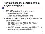 how do the terms compare with a 30 year mortgage