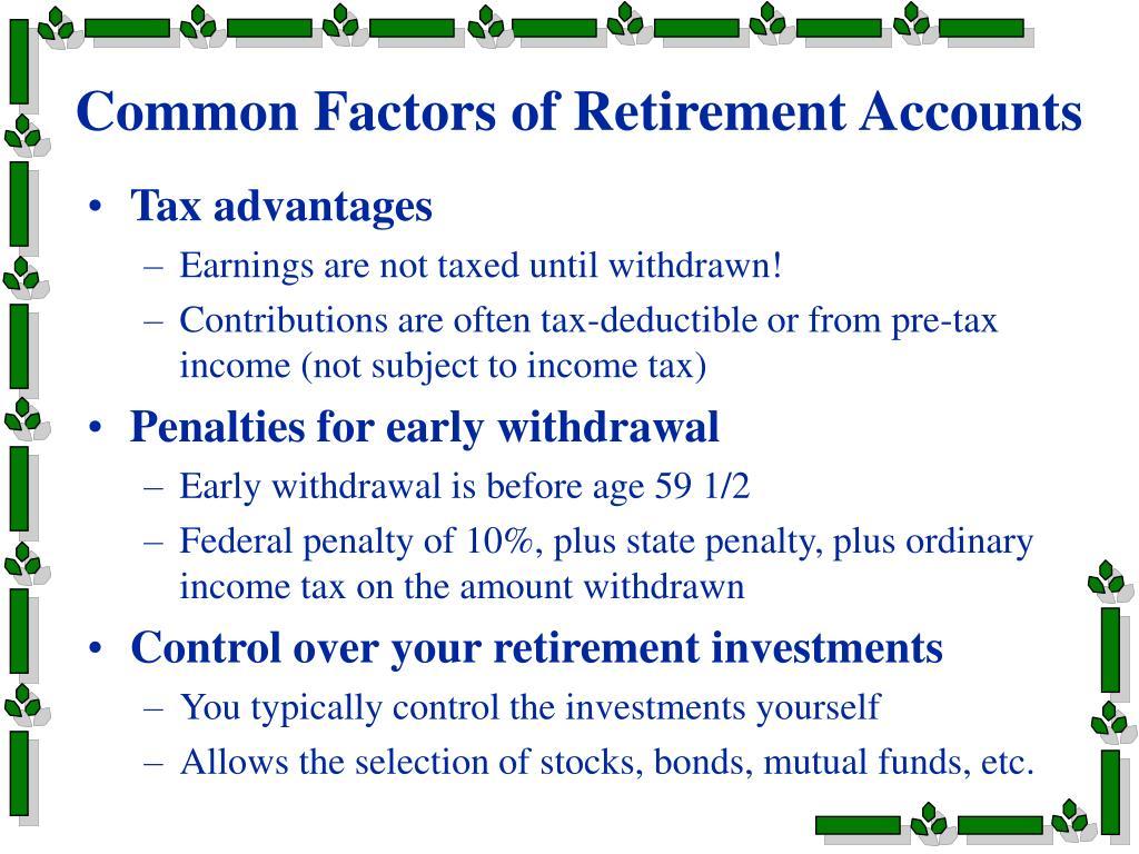 Common Factors of Retirement Accounts