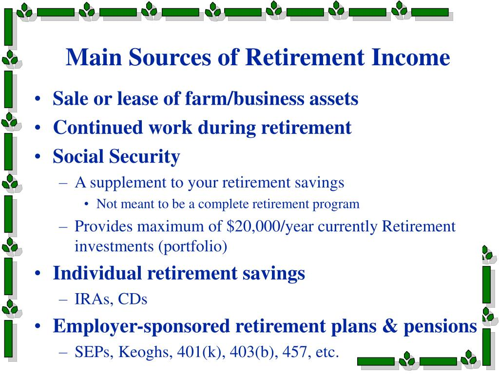 Main Sources of Retirement Income