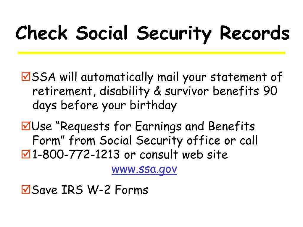 Check Social Security Records